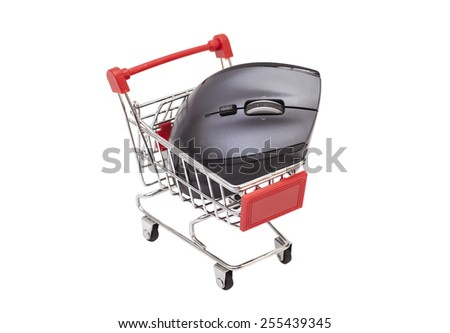 Computer mouse in shopping cart. Isolated on white - stock photo