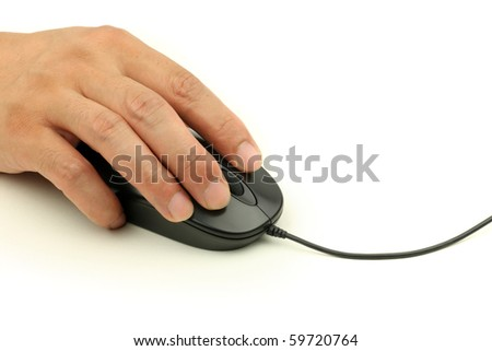 computer mouse in the hand  on white background