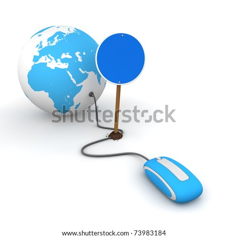 computer mouse is connected to a light blue globe - surfing and browsing is blocked by a blue round mandatory-sign - empty template - stock photo
