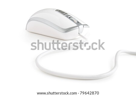 computer mouse isolated on white - stock photo