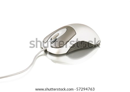 computer mouse isolated on white and reflection - stock photo