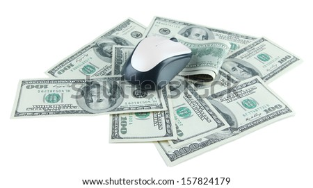Computer mouse on dollars isolated on white - stock photo