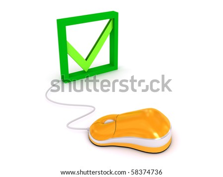 Computer mouse over white background. 3d render - stock photo