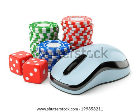 Computer mouse, pile of gambling chips and two dices isolated on white background. Online poker, card games, internet casino, luck and winning concept. - stock photo