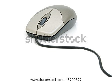 Computer mouse with a cable on a white background