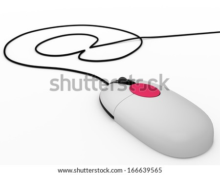 "Computer mouse with cord that draws ""at"", 3D - stock photo"