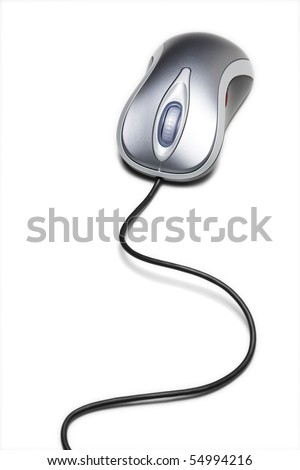 Computer mouse with long cord - stock photo