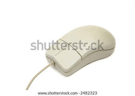 Computer mouse with traces of usage on white background - stock photo