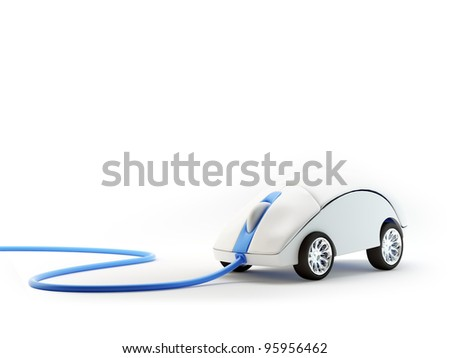 Computer mouse with wheels - internet speed concept