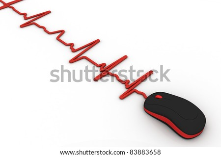computer mouse with wire as heartbeat diagram