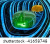 Computer mouses against abstract background. - stock photo