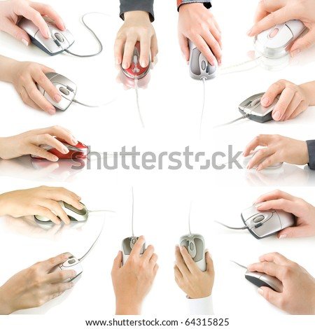 computer mouses in hand collection isolated on white  with reflection - stock photo