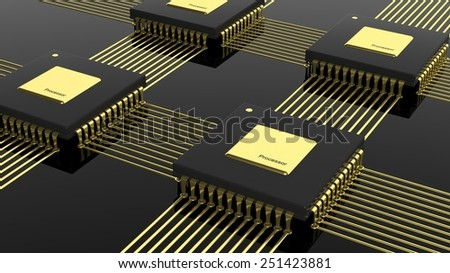 Computer multi-core microchip CPU isolated on black background - stock photo