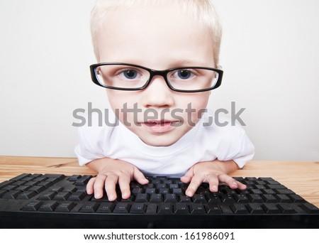 Computer nerd - stock photo