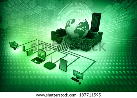 Computer Network and internet communication concept on abstract background  - stock photo