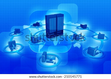 Computer Network and internet communication on blue background 	 - stock photo