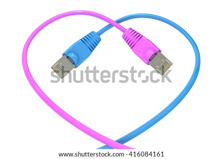 computer network cables in the heart-shaped, 3D rendering isolated on white background - stock photo