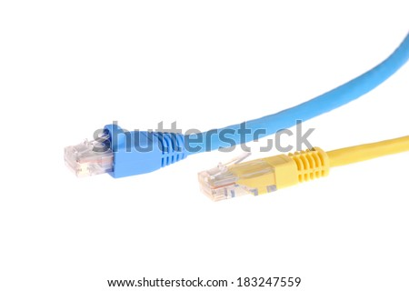 computer network cables isolated on white background  - stock photo