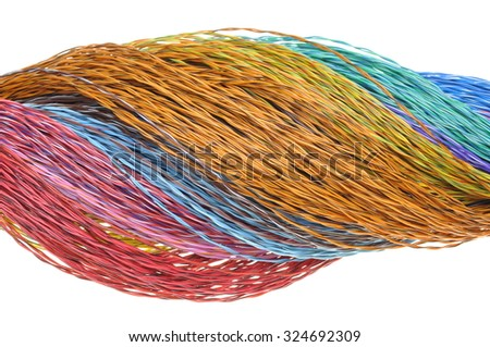 Computer network color wires isolated on white background - stock photo
