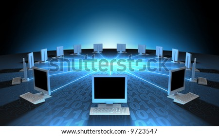 Computer network communicating data each other - stock photo