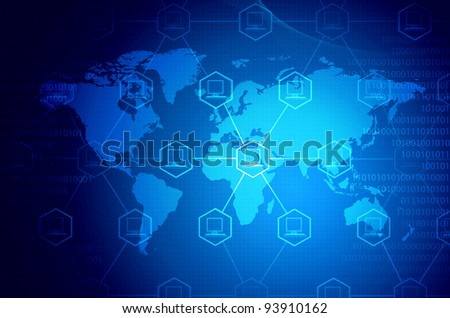 Computer network. Conceptual illustration about how computers in the world connected to each other with information - stock photo