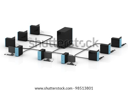 Computer network in isolated background - stock photo