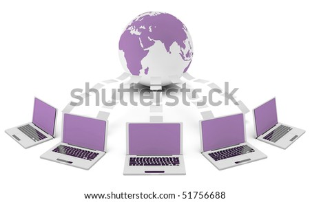 Computer Network on the Internet in 3d Concept - stock photo