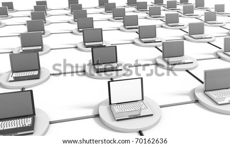 Computer Network on the Internet with PCs - stock photo