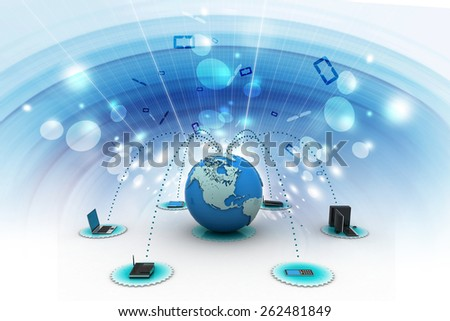 computer networking with globe - stock photo