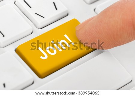 Computer notebook keyboard with Join key - technology background - stock photo