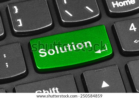 Computer notebook keyboard with Solution key - technology background - stock photo