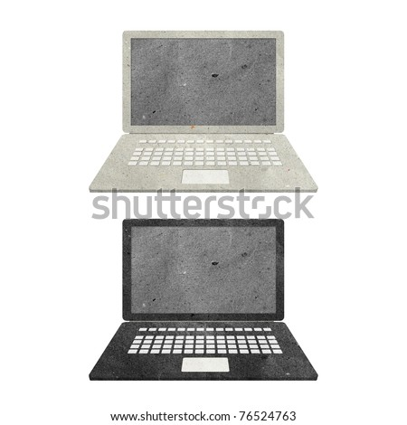 computer notebook recycled paper craft stick on white background - stock photo