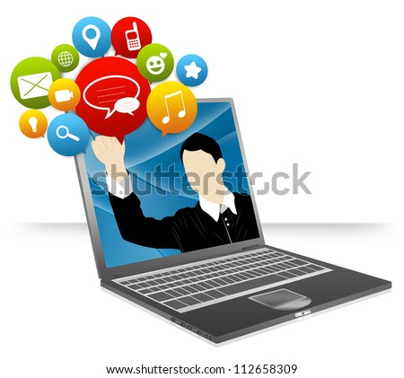 Computer Notebook With Businessman Pointing to Colorful Social Network Icon Isolate on White Background For Social Network and Online Communication Concept - stock photo