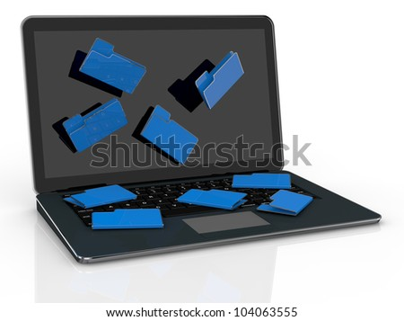 computer notebook with folder icons that fall from the screen (3d render)