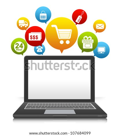 Computer Notebook With Some Space For Text Message on Screen and Online Shopping Icon Above Isolate on White Background - stock photo
