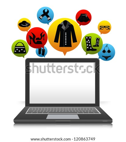 Computer Notebook With Some Space For Text Message on Screen and The E-Commerce Icon For Women Fashion Above Isolate on White Background - stock photo