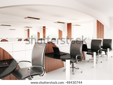 Computer office interior with laptops 3d render