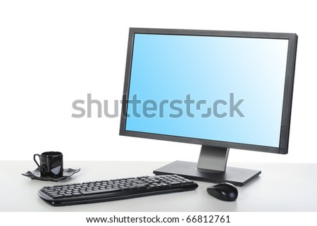 computer on a desk in a bright office. Isolated on white background - stock photo