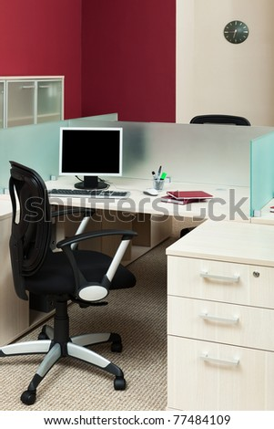 computer on a desk in a modern office - stock photo