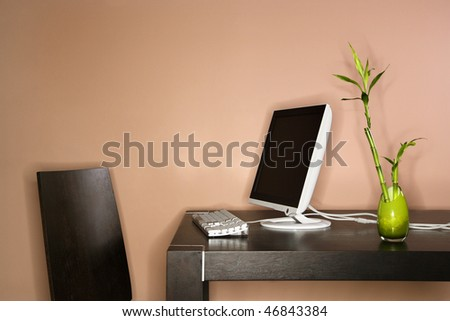 Computer on a table sitting next to a bamboo plant in a vase. Horizontal shot. - stock photo