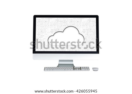 computer on a white background and virtual cloud - stock photo