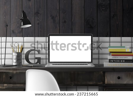 Computer on table. 3D rendering - stock photo