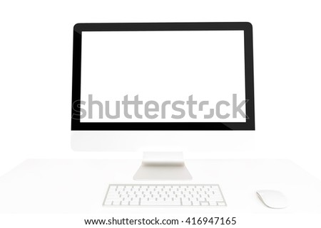computer on table isolated clipping path inside on white background - stock photo
