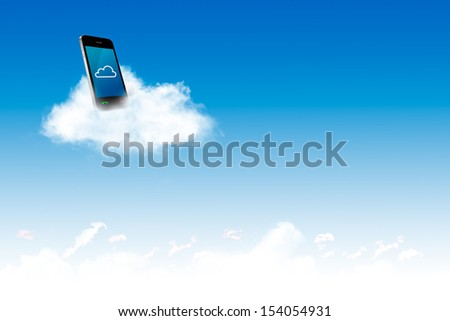 Computer on the cloud, for cloud computing concept and business - stock photo