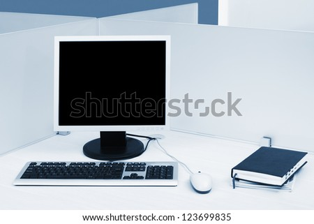 computer on the desk in modern office - stock photo