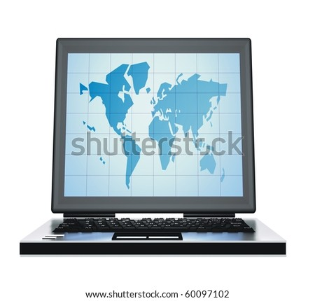 computer on the white background with map  on screen