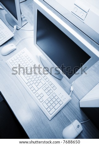 computer on the working place. - stock photo