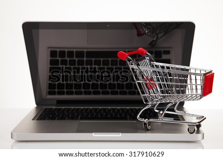 Computer, Online shopping concept in white background
