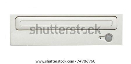 Computer optical disk drive isolated on white - stock photo