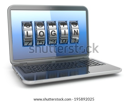 Computer or internet security concept. Laptop with code login. 3d - stock photo